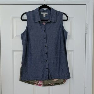 French Laundry Chambray and Floral Sleeveless Top